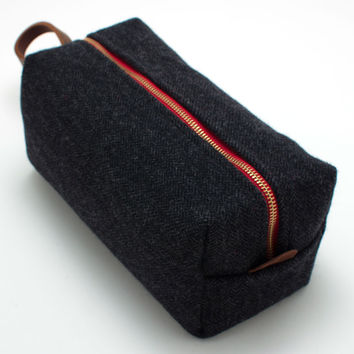 Charcoal Herringbone Travel Kit