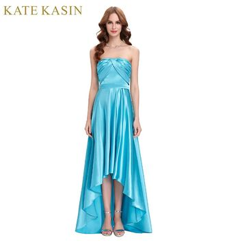 High Low Evening Dresses Long Satin Strapless Party Ball Prom Dress Short Front Long Back Blue Evening Gown