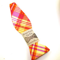 Men's Plaid Bow Tie - Orange and Yellow Self Tie Bow Tie Madras Bowtie in Bright Colors Perfect for Casual Spring  Bow Tie Style