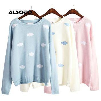 Pastel Knit Cute 3D Clouds Applique Round Neck Sweater