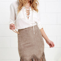 Spur of the Moment Taupe Suede Fringe Skirt