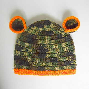 Baby Boy  Camouflage Hat With Orange Trim Green Camo Infant Girl  Cap With Ears  Infant 6 To 12  Months  Children  Fall Hunting Beanie