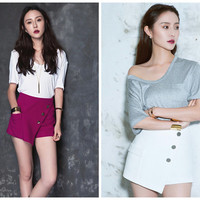 women summer shorts in red,white,asymmetrical,high waist,chic,fashion,elegant.--E0156
