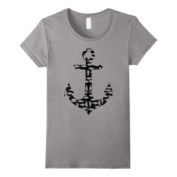 Anchor Fish Tee Shirt Black Hooks Lines Fishes