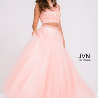 JVN by Jovani Beaded Top Full Skirt Dress- Blush