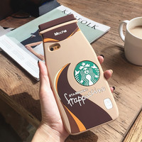 Brand Newest for iPhone 4 4S 5 5S 6 6S 6/6S Plus Soft Silicone Case Simulation 3D Mocha Coffee Bottles Cup Back Cover