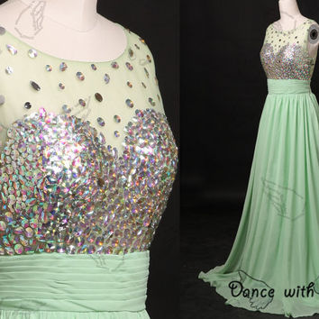 Green chiffon rhinestones beading prom dresses,prom dress,long prom dress,bridesmaid dresses,evening dresses,bridesmaid dress,evening dress