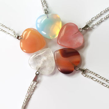Gemstone heart necklace Agate Quartz Opalite gemstone heart necklace Chakra necklace healing necklace reiki necklace girlfriend necklace