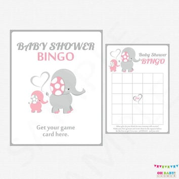 Pink and Gray Baby Shower Bingo Game, Elephant Baby Shower, Girl Baby Shower, Safari Baby Shower Bingo, Printable INSTANT DOWNLOAD EL0005-lp