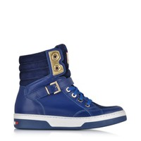 Moschino Designer Shoes Love Moschino Blue Leather and Suede High Top Sneaker