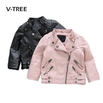 V-TREE Girls Boys Jacket PU Leather Kids Jackets Clothes Children Outwear For Baby Girls Boys Clothing Coats Costume 2-8 Year