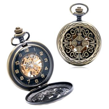 Retro Pattren Hollow Case Design 2 Colors Skeleton Steampunk Mechanical Pocket Watch With Chain Gift To Men Women