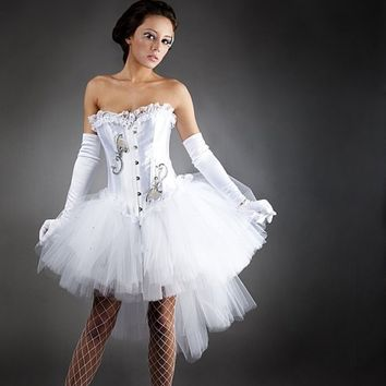 Custom size White tulle Burlesque Corset Prom dress by Glamtastik