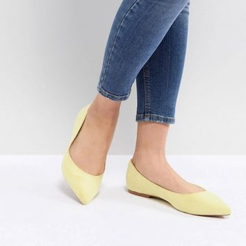 ASOS DESIGN Latch Wide Fit Pointed Ballet Flats at asos.com