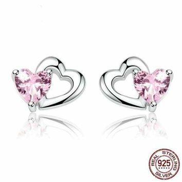 925 Sterling Silver Double Heart to Heart Pink CZ Stud Earrings