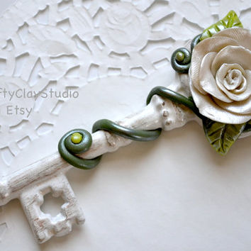 Rose Decor - Bridesmaid Gift - Wedding Gift - Wedding Favor - Gift for Her - Polymer Clay Flower - Key Decor - Flower Decor - Spring Decor