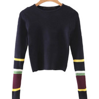 Round Neck Color Block Cropped Sweater