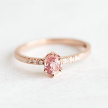 18KT Rose Gold Oval Peach Pink Sapphire Promise