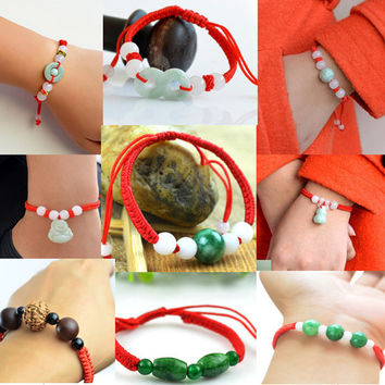 Vintage bracelet jewelry lucky red thread string knot bracelets for women red rope jade beads ethnic bracelets&bangles gift 0543