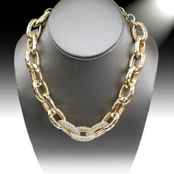 Gold-Plated Crystal Hammered Link Necklace