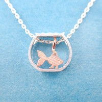 Tiny Goldfish in a Fish Bowl Shaped Pendant Necklace in Silver | DOTOLY