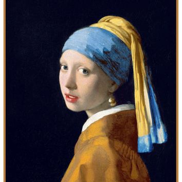 Girl with the Pearl Earring Detail by Johannes Vermeer Counted Cross Stitch or Counted Needlepoint Pattern