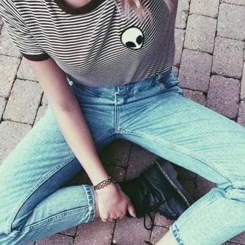 Gray Stripes Alien Print Cotton Casual Hipster Shirt Top Tees