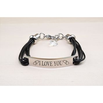 Silver Inspirational Bracelet with Crystals from Swarovski by Pink Box