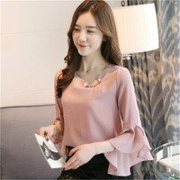 New  Fashion Korean Style Chiffon Blouse Butterfly Sleeve Cute Blusas Brief Casual Shirt Elegant Women Tops Plus Size 72711 SM6
