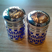 Vintage Cobalt Blue Glass Salt and Pepper Shakers With Silver Plated Overlay Hearts