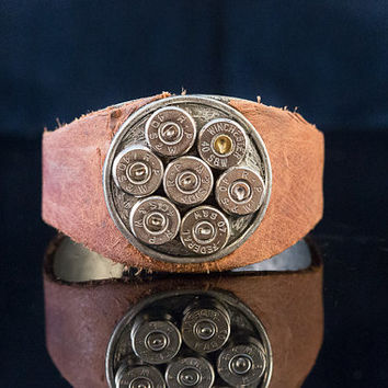 "Unisexl-Bullet brown leather Cuff Bracelet-""Lucky Seven Watch Out""  Cool Hand Luke-Rustic,sexy and a little steampunk thrown in"