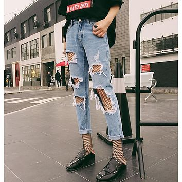2017 New Fashion Ladies Cotton Denim Hole Jeans Womens Bleach Ripped Skinny Hollow Out Jeans Denim Pants