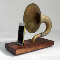 The Horn-A-Phone - iHorn -- Large Brass  Acoustic  Speaker Upright Horn Dock -- Acoustic Speaker System Docking Station  ,Walnut - Patina