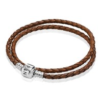 PANDORA Brown Braided Double Leather Bracelet