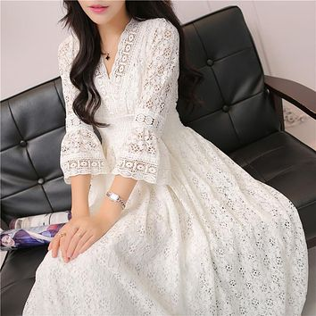Spring Casual Vintage Long Elegant Dress Women Maxi Ankle Length Party Festival Prom Gown Female Vestidos Lace Hippie Dress Z113