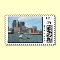 Fisherman in Boston Harbor --postage