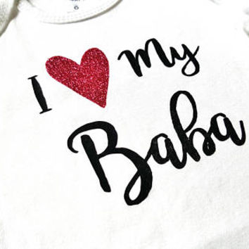 I love my Baba shirt, baby bodysuit, hearts, glitter, baby boy girl, baby shower gift, father's day, dad, abbu, islamic gift, eid ramadan