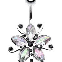Glistening Lily Blossome Flower Belly Button Ring