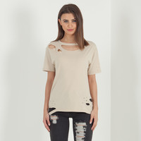 'The Squad' Distressed T-Shirt - Beige