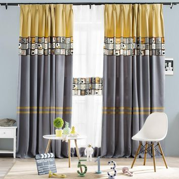 Earth Yellow And Gray Color Block With Football Pattern Drape
