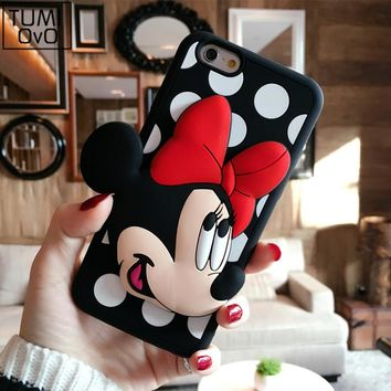 Cute Animal 3D Cartoon Mickey Minnie Cases For iPhone 5 5s SE Soft TPU Silicon Case For iPhone 6 6S 7 Plus Back Phone Cover