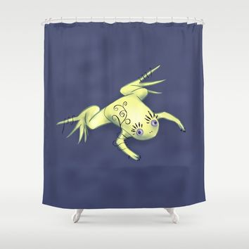 Funny Frog With Fancy Eyelashes Digital Art Shower Curtain by borianagiormova