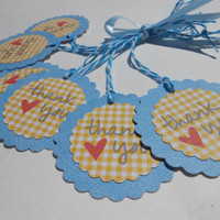 Multi Use - ADHESIVE - 6 Thank You - Gift Tags, Labels, Party Favors, Baby Shower Favors, Scrapbook Sticker, ETC. Blue and Yellow