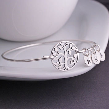 Tree of Life Bracelet, Family Tree Jewelry, Sterling Silver Tree Bangle Bracelet