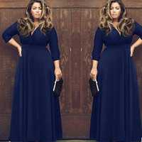 Large Big Size Clothing Women Plus Size Long Maxi Dresses with Sleeves Sexy Evening Party Long Dress XXXL