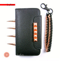 Copper studded black wallet case iPhone 4 4S, iPhone 5, galaxy s3, galaxy s4, Note 2, Htc One M7 with add-options special instructions