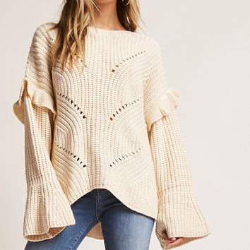 Open-Knit Bell Cuff Sweater