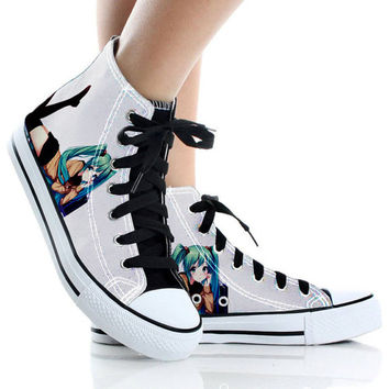 Vocaloid Hatsune Miku,Shoes Custom,High Top,canvas shoes,Painted Shoes,Special Christmas Gift,Birthday gift,Men Shoes,Women Shoes