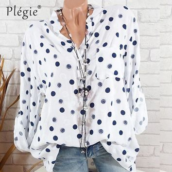 Plegie Plus Size Polka Dot Print Blouse Women Summer Long Sleeve Loose Shirt Blouse Womens Tops And Blouses