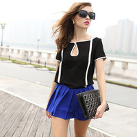 Black Short Sleeve Cut-out Chiffon Blouse